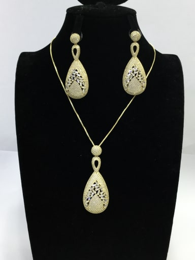 Trend Irregular Copper Cubic Zirconia White Earring and Necklace Set