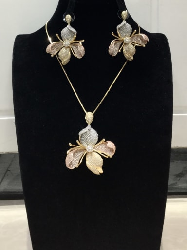 Statement Flower Copper Cubic Zirconia White Earring and Necklace Set