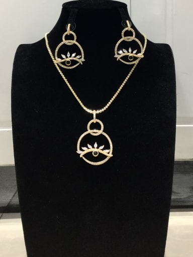 Classic Evil Eye Copper Cubic Zirconia White Earring and Necklace Set