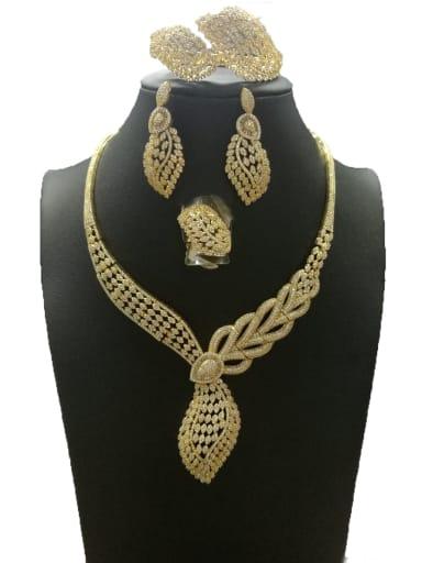 GODKI Luxury Women Wedding Dubai Dainty Leaf Copper Cubic Zirconia White Ring Earring Bangle And Necklace Set