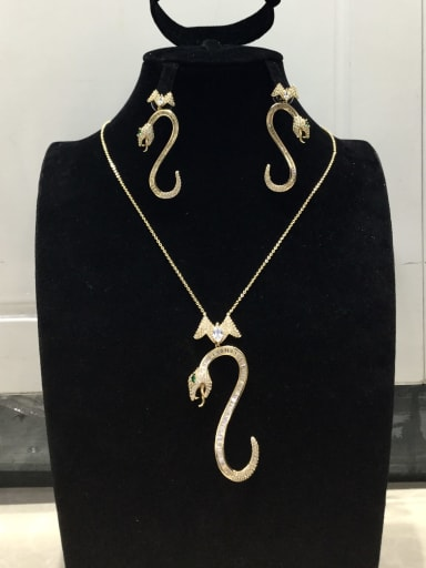 Minimalist Snake Copper Cubic Zirconia White Earring and Necklace Set