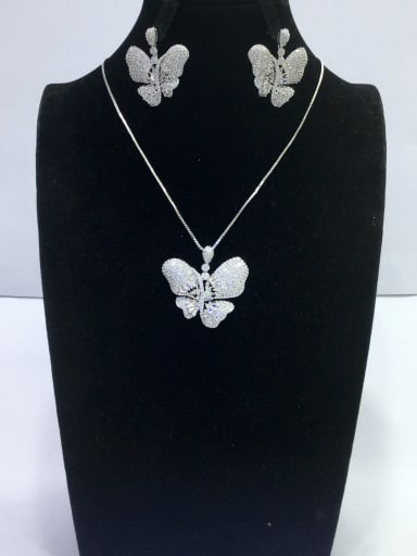 Artisan Butterfly Copper Cubic Zirconia White Earring and Necklace Set