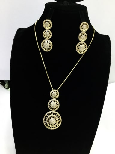 Dainty Round Copper Cubic Zirconia White Earring and Necklace Set