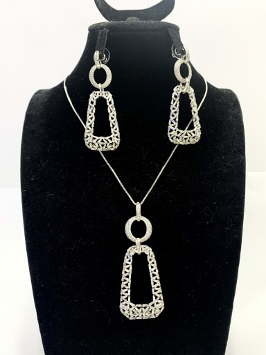 Minimalist Rectangle Copper Cubic Zirconia White Earring and Necklace Set