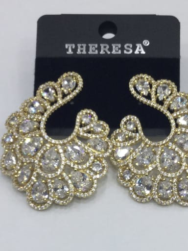 Copper Cubic Zirconia White Oval Luxury Ear Jacket Earring