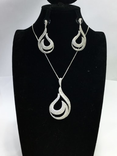 Dainty Water Drop Copper Cubic Zirconia White Earring and Necklace Set