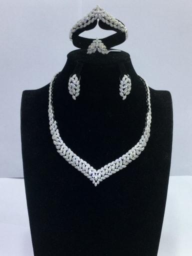 GODKI Luxury Women Wedding Dubai Minimalist Leaf Copper Cubic Zirconia White Ring Earring Bangle And Necklace Set