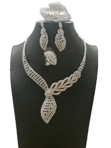 Dainty Leaf Copper Cubic Zirconia White Ring Earring Bangle And Necklace Set