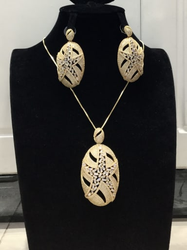 Statement Star Copper Cubic Zirconia White Earring and Necklace Set