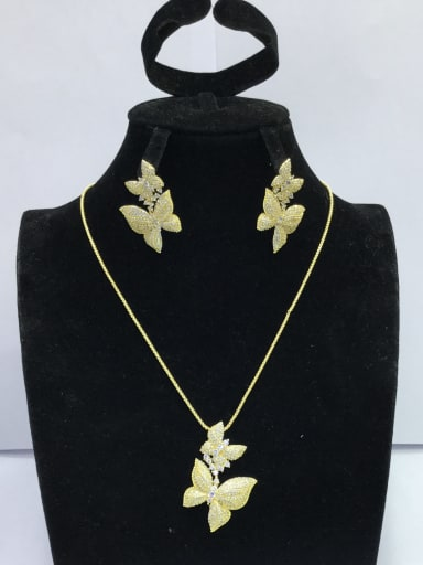 Cute Butterfly Copper Cubic Zirconia White Earring and Necklace Set