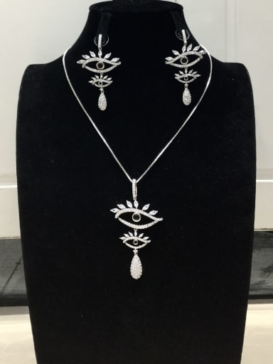 Classic Snake Copper Cubic Zirconia White Earring and Necklace Set