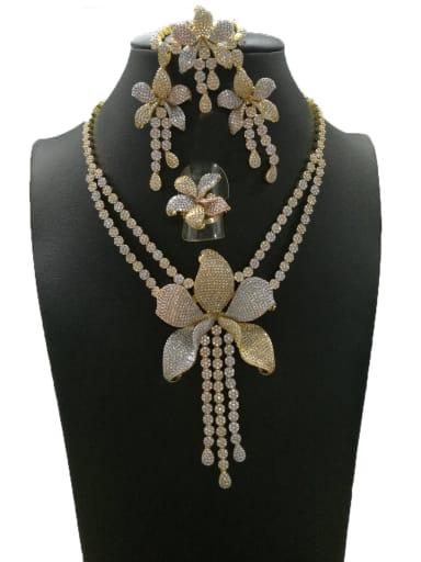 GODKI Luxury Women Wedding Dubai Dainty Flower Copper Cubic Zirconia White Ring Earring Bangle And Necklace Set