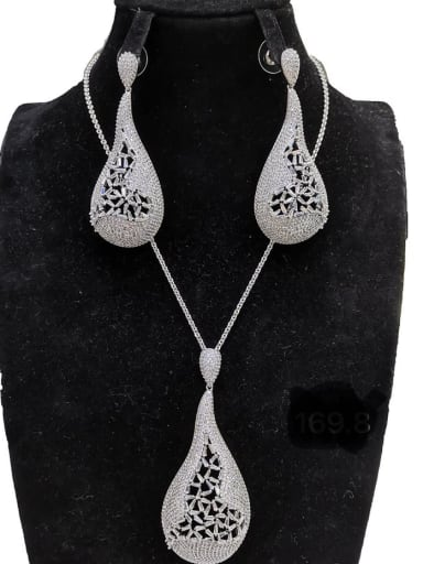 Statement Water Drop Copper Cubic Zirconia White Earring and Necklace Set