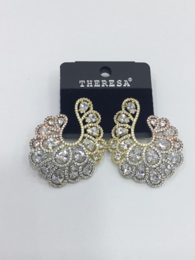 Copper Cubic Zirconia White Oval Luxury Ear Jacket Earring