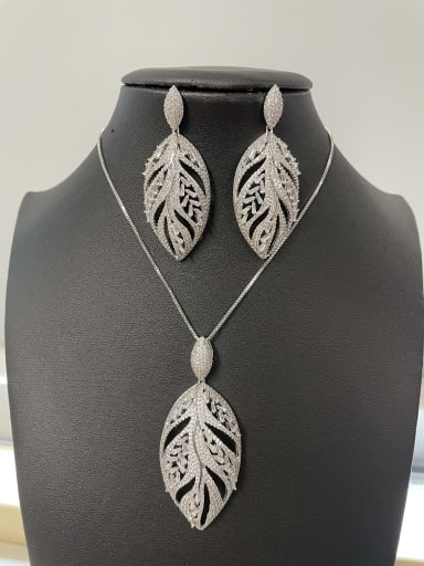 Classic Leaf Copper Cubic Zirconia White Earring and Necklace Set