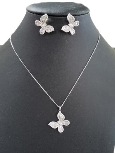 Classic Butterfly Copper Cubic Zirconia White Earring and Necklace Set