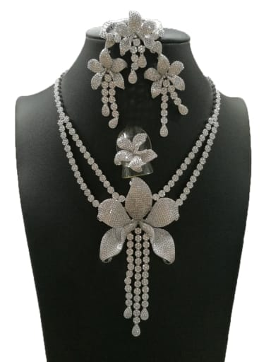 Classic Flower Copper Cubic Zirconia White Ring Earring Braclete And Necklace Set