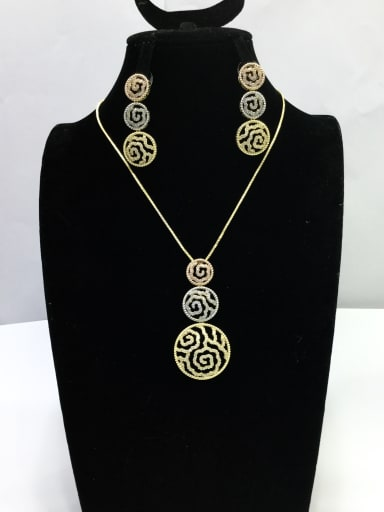 Classic Round Copper Cubic Zirconia White Earring and Necklace Set