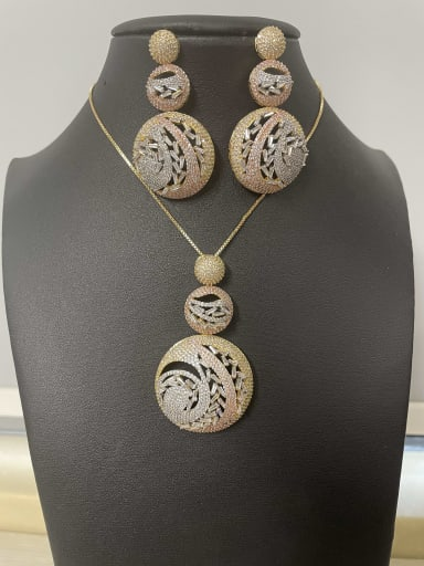Luxury Round Copper Cubic Zirconia White Earring and Necklace Set