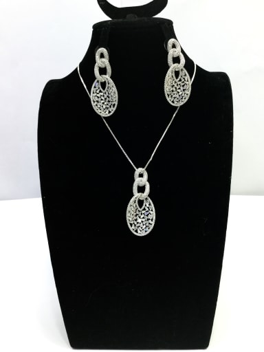 Dainty Locket Copper Cubic Zirconia White Earring and Necklace Set