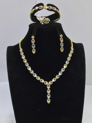 Dainty Flower Copper Cubic Zirconia White Ring Earring Braclete And Necklace Set
