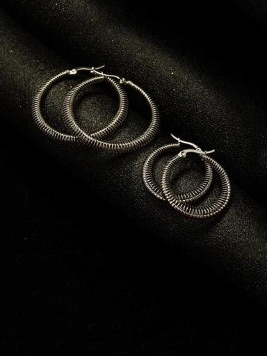 Titanium Steel Round Vintage Hoop Earring