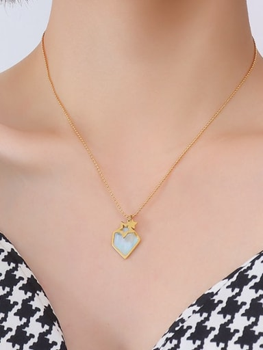 P557 gold necklace 40+ 5cm Titanium Steel Shell Geometric Minimalist Necklace