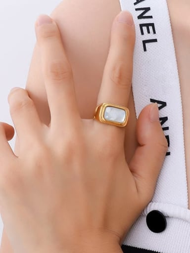 A255 gold ring Titanium Steel Shell Geometric Vintage Band Ring