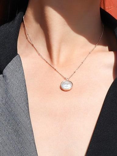 Rose gold necklace 40+5cm Titanium Steel Shell Geometric Minimalist Necklace
