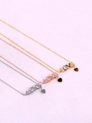 Titanium Cubic Zirconia Letter Dainty Initials Necklace