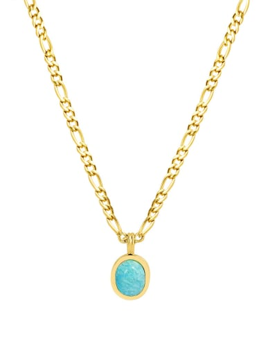 Titanium Steel Turquoise Heart Minimalist Necklace