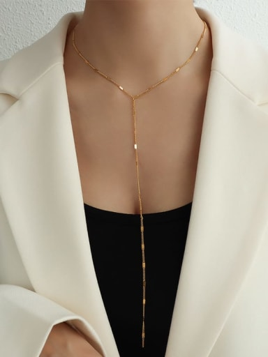 Long gold Titanium 316L Stainless Steel Tassel Minimalist Lariat Necklace with e-coated waterproof