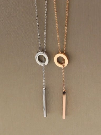 Titanium Locket Minimalist Lariat Necklace