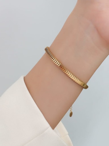E265 gold bracelet 15 +5cm Titanium Steel  Minimalist Irregular Braclete and Necklace Set
