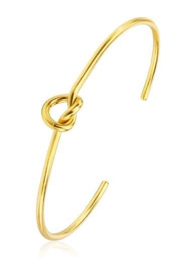 Gold Titanium Steel knot Minimalist Cuff Bangle