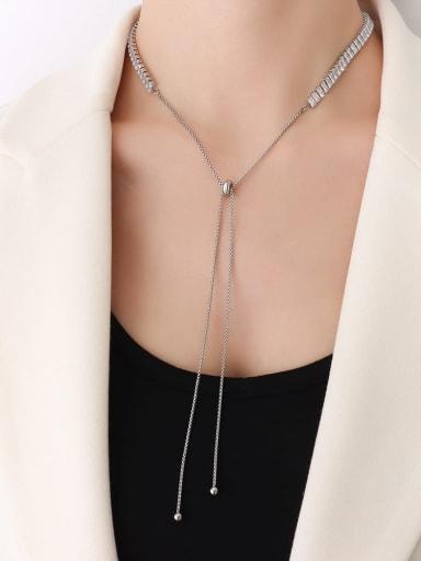 P190 Steel Necklace 68cm Titanium Steel Cubic Zirconia Vintage Tassel  Braclete and Necklace Set