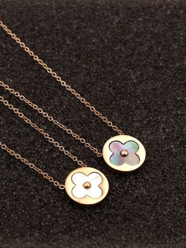 Titanium Shell Round Dainty Necklace