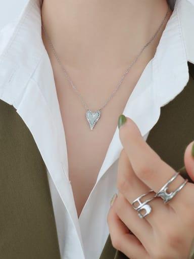 Titanium Steel Rhinestone Heart Minimalist Necklace