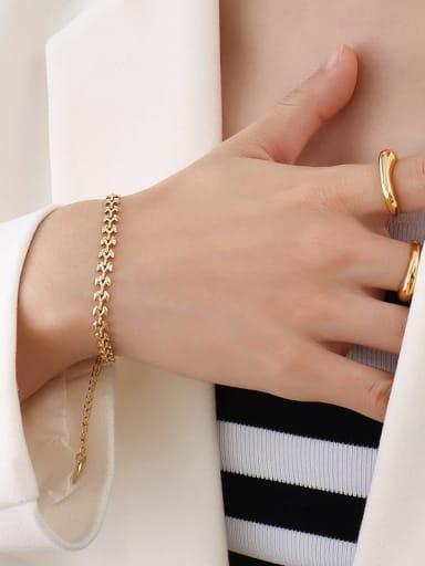 E289 gold bracelet 15 +5cm Titanium Steel Vintage Irregular   Bracelet and Necklace Set