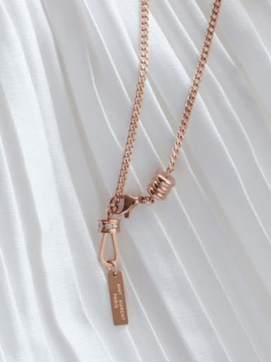 rose gold Titanium 316L Stainless Steel Tassel Minimalist Lariat Necklace with e-coated waterproof