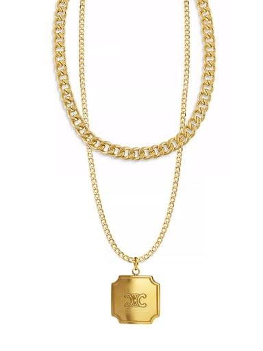 Titanium Steel English Letter Box Pendant Necklace Plated