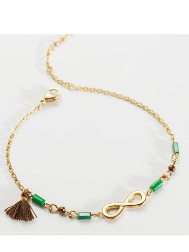 brown Stainless steel Bead Tassel Dainty Link Bracelet