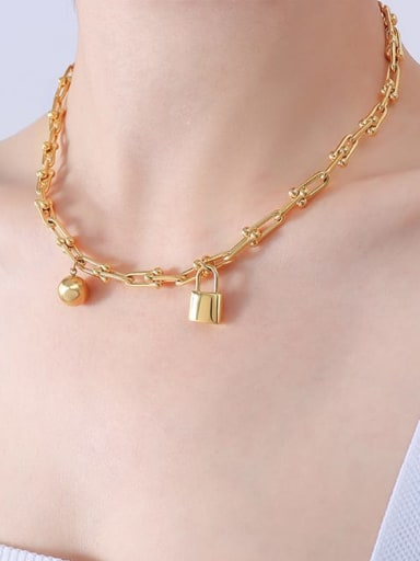 P072 gold necklace 40 5cm Titanium Steel Vintage Irregular Bangle and Necklace Set