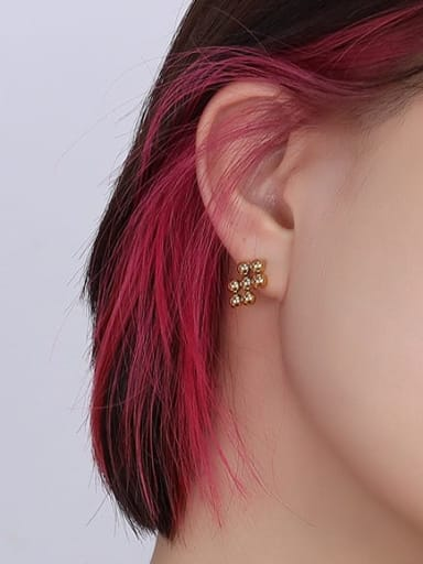 gold Earrings Titanium Steel Bead Vintage Geometric  Earring and Necklace Set
