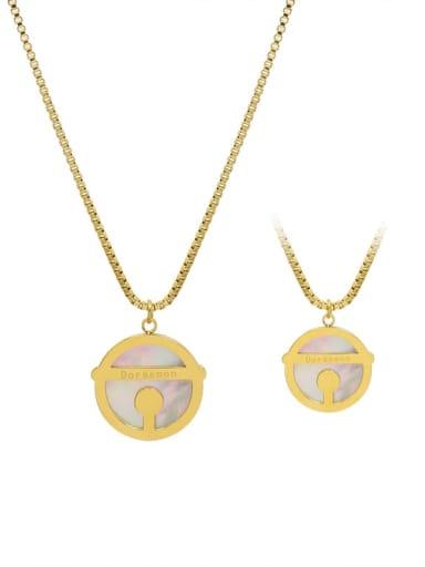 Gold large 2cm Titanium Steel Shell Round Minimalist Necklace
