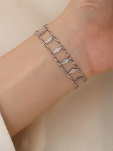 E262 steel color Bracelet 15+ 5cm Titanium Steel Geometric Hip Hop Strand Bracelet
