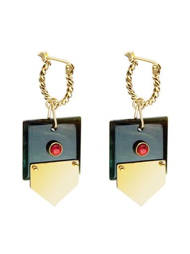 SE20121305GN Titanium Steel Geometric Minimalist Huggie Earring