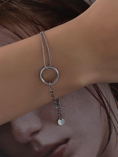 E067 steel color  15cm Titanium 316L Stainless Steel Geometric Minimalist Strand Bracelet with e-coated waterproof