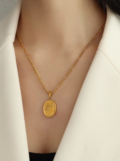gold plum Necklace 50cm Titanium 316L Stainless Steel  Flower Vintage Geometric Pendnat Necklace with e-coated waterproof
