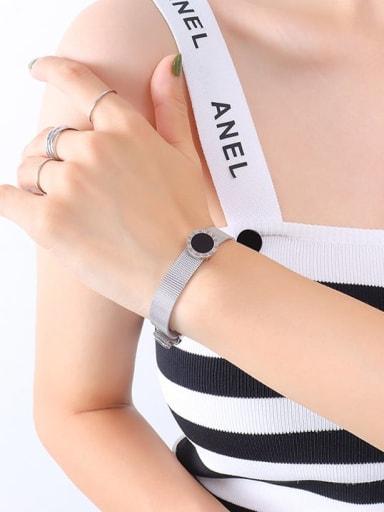 E071 steel Roman Bracelet 20cm Titanium Steel Acrylic Geometric Vintage Bracelet